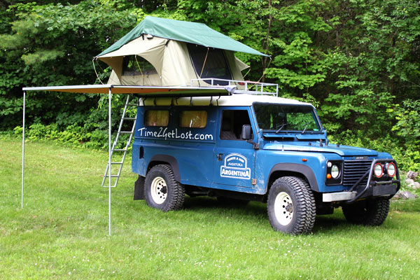 Defender 110 with tent and awning